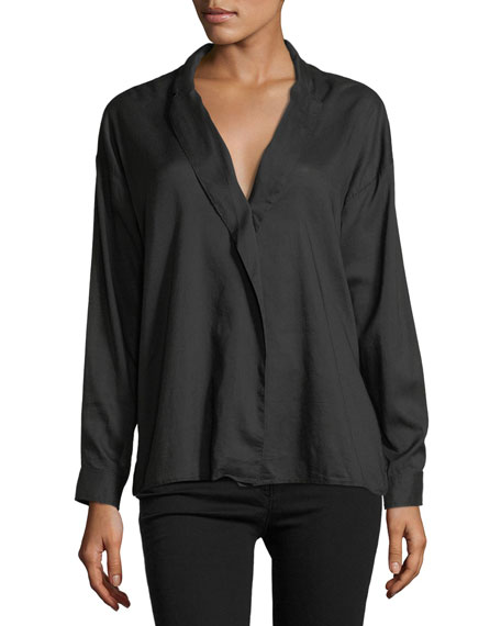 3x1 Moxy Wrap Long-Sleeve Cotton Shirt