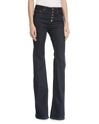 Selma Button-Front Mid-Rise Flared Jeans