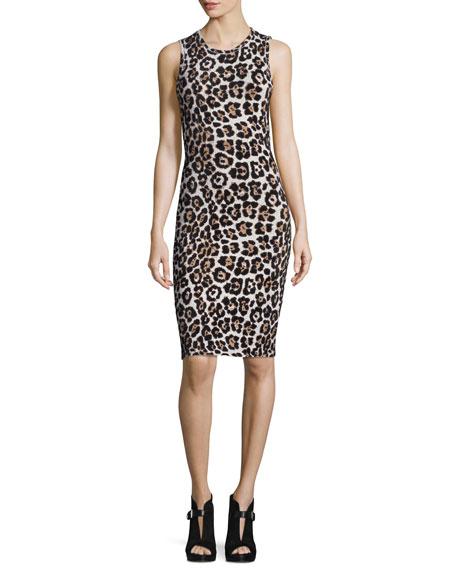 MICHAEL Michael Kors Sleeveless Animal-Print Sheath Dress