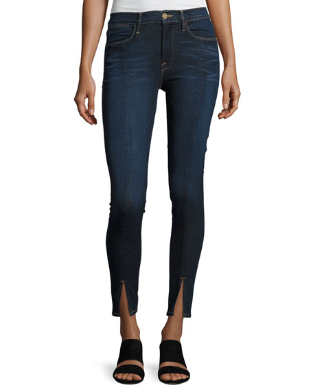 FRAME Le High Split-Front Skinny Jeans, Indigo and