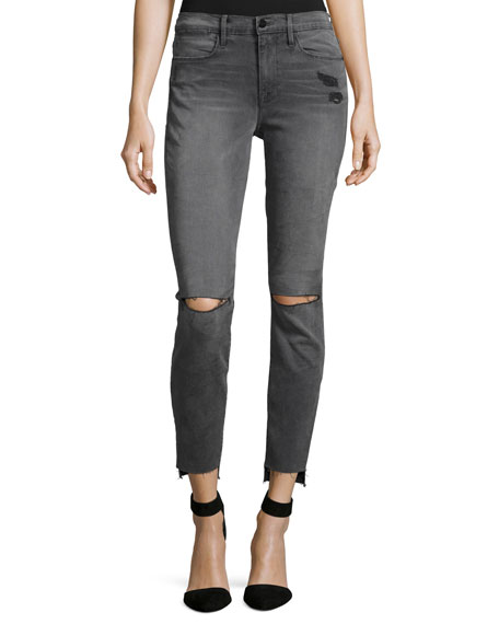 FRAME Le High Skinny Raw Stagger-Hem Jeans, Gray