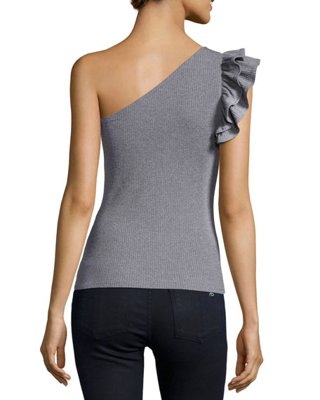 One-Shoulder Ribbed Fitted Jersey Top, Gray
