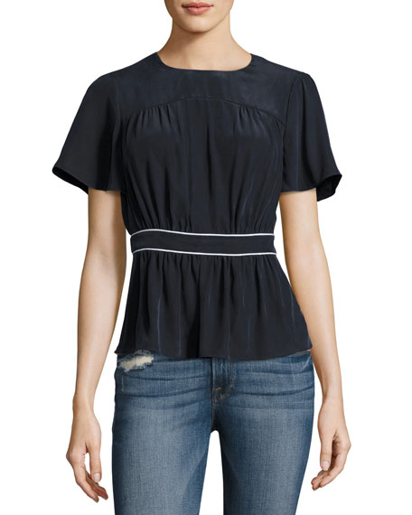 FRAME Piped Short-Sleeve Peplum Silk Top, Navy