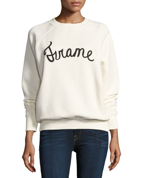 FRAME Old School Logo Graphic Pullover Sweatshirt, White