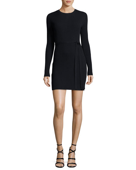 FRAME Rib-Knit Long-Sleeve Mini Dress, Navy