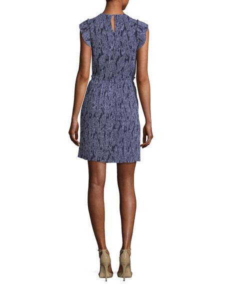 Samara Cap-Sleeve Paisley-Print Plisse Dress
