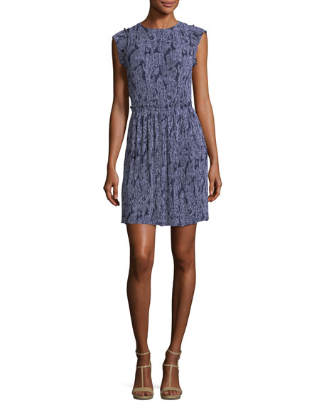 MICHAEL Michael Kors Samara Cap-Sleeve Paisley-Print Pliss?? Dress