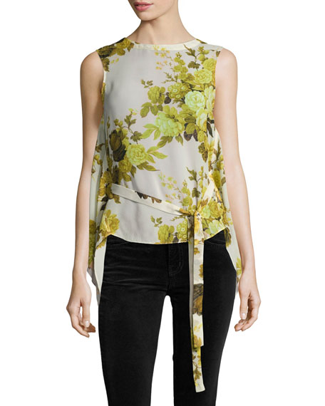 Robert Rodriguez Sleeveless Floral Top W/ Back Drape,