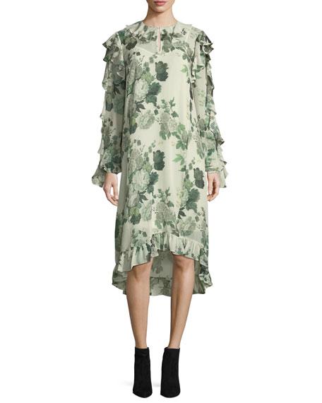 Robert Rodriguez Ruffled Low-High Hem Midi Dress, Green