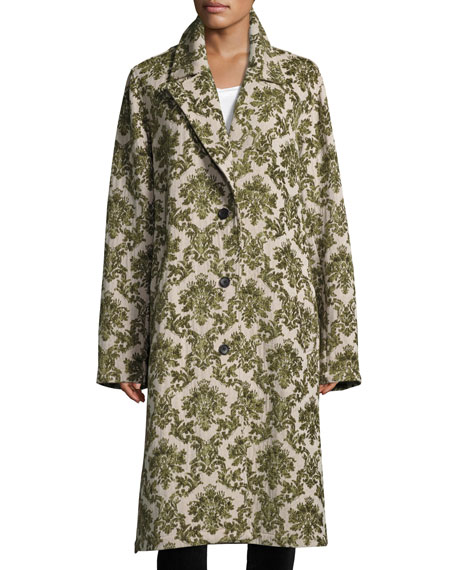 Robert Rodriguez Brocade Oversized Trench Coat, Green Pattern