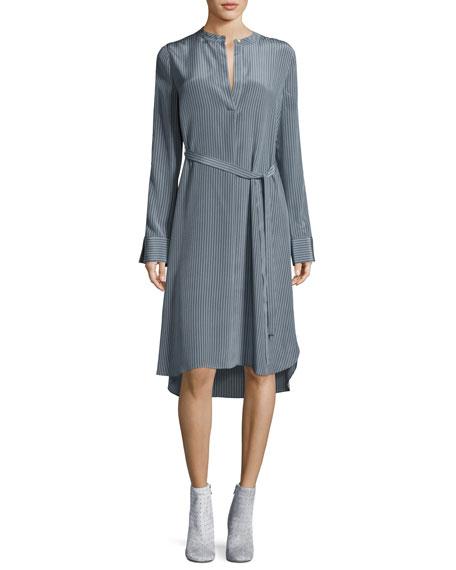 Robert Rodriguez Striped Silk Long-Sleeve Shirtdress, Blue