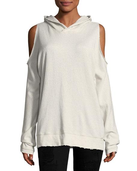 RtA Denim Juno Cold-Shoulder Hooded Sweater