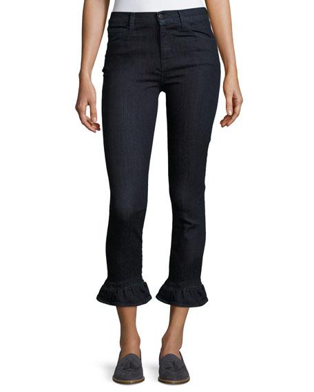 J Brand Maude High-Rise Crop Jeans W/ Frill,