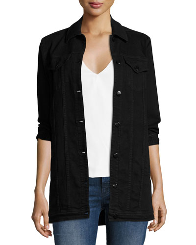 Maxi Denim Jacket, Black