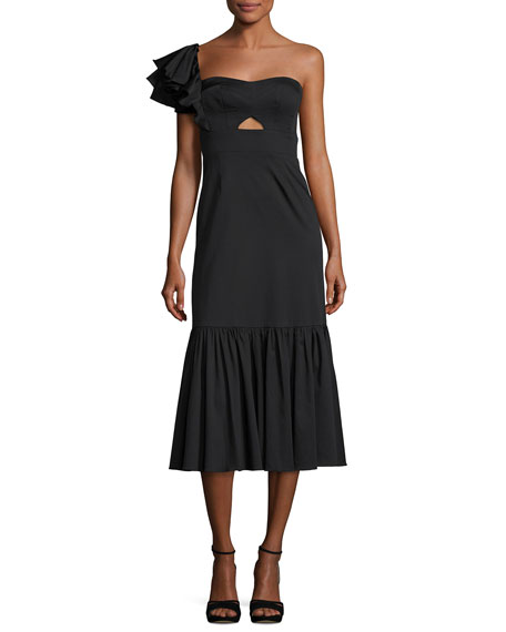 Rebecca Taylor One-Shoulder Cotton Ruffle Midi Dress
