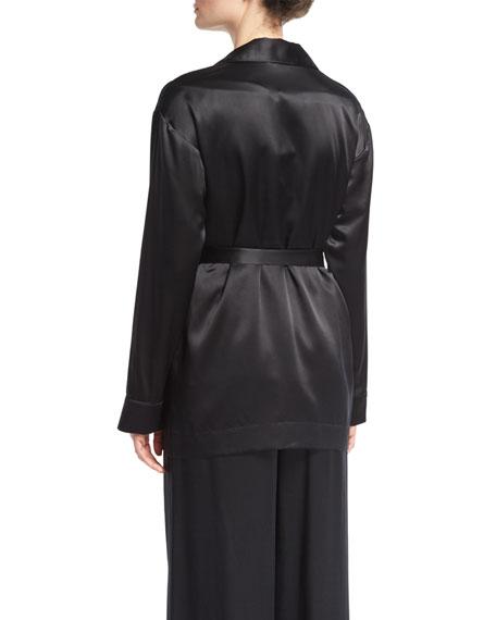 Mid-Length Silk Satin Robe, Black