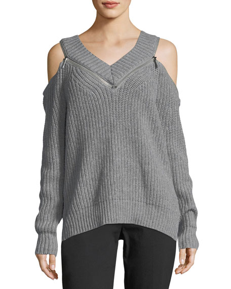 Chunky Zip-Trimmed Cold-Shoulder Sweater