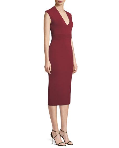 V-Neck Sleeveless Jersey Midi Dress
