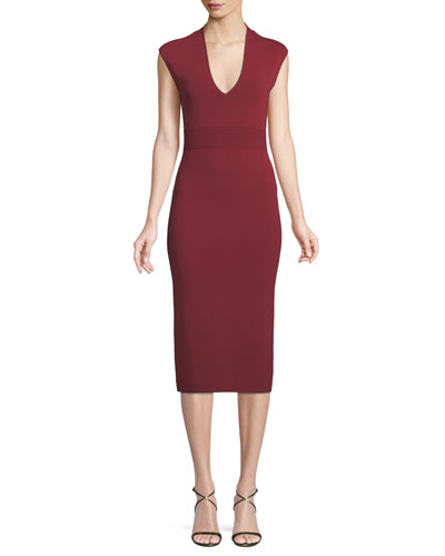 V-Neck Sleeveless Jersey Midi Dress
