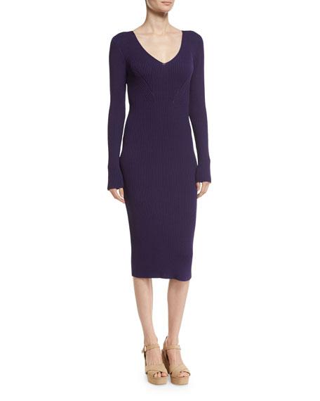 V-Neck Rib-Knit Midi Sweater Dress