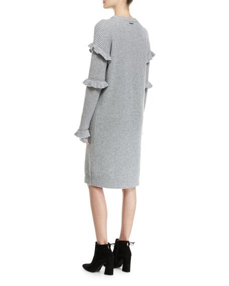 Long-Sleeve Rib-Knit Sweater Dress W/ Ruffled Trim