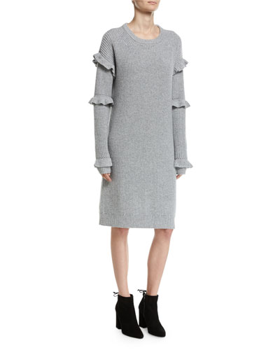 Long-Sleeve Rib-Knit Sweater Dress W/ Ruffled Trim