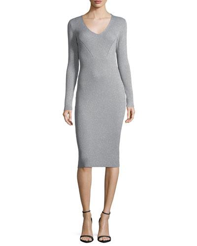 V-Neck Ribbed Lurex® Sweater Dress