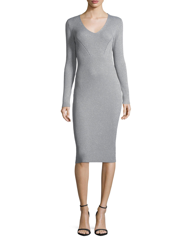 5f3f3ebe79 MICHAEL Michael Kors V-Neck Ribbed Lurex® Sweater Dress