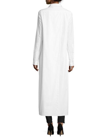 High-Low Long-Sleeve Poplin Shirt, White