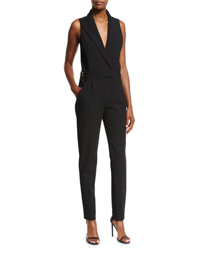 Sleeveless Tailored Peak Lapel Jumpsuit