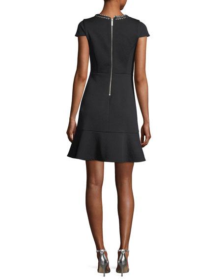 Cap-Sleeve Grommet Chain Laced Dress