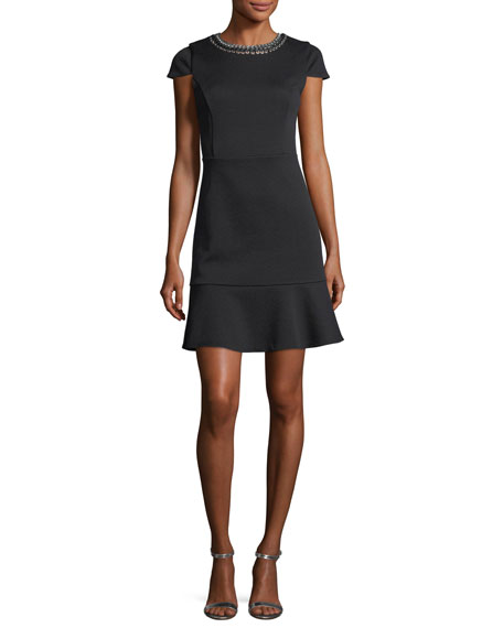 MICHAEL Michael Kors Cap-Sleeve Grommet Chain Laced Dress