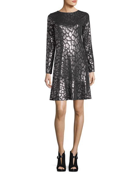 Long-Sleeve Leopard Foil Flounce Dress