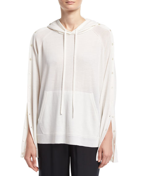 Merino Wool Button-Sleeve Pullover Hoodie, Ivory