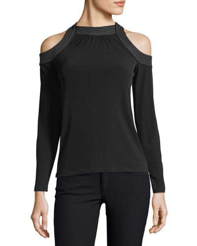 Long-Sleeve Trapunto Cold-Shoulder Top