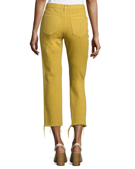 Slim Mid-Rise Cotton Twill Jeans, Yellow