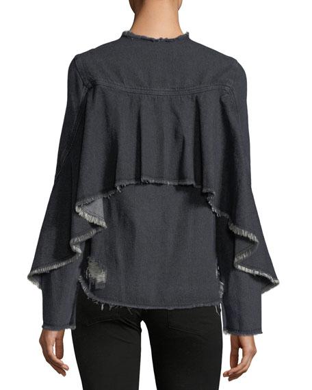 Denim Ruffle Bell-Sleeve Shirt