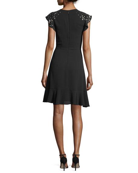 Triangle-Studded Flutter-Sleeve Dress
