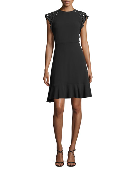 MICHAEL Michael Kors Triangle-Studded Flutter-Sleeve Dress