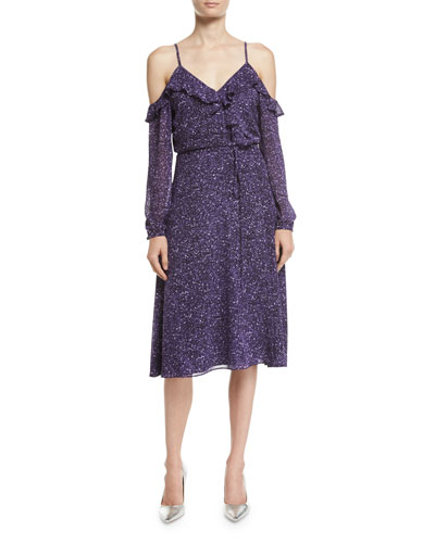 Long-Sleeve Cold-Shoulder Tweed Wrap Dress