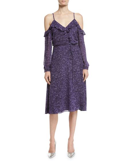 MICHAEL Michael Kors Long-Sleeve Cold-Shoulder Tweed Wrap Dress