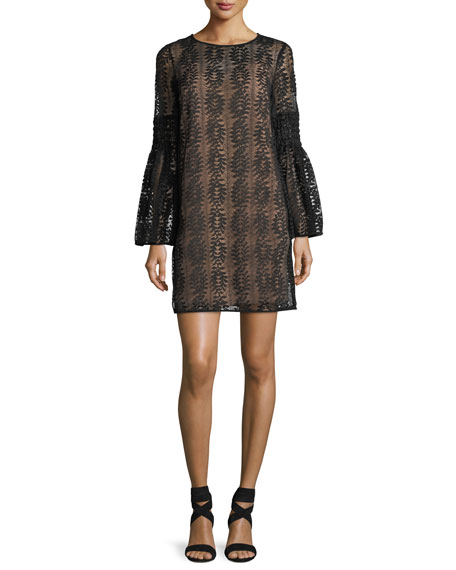 Long Bell-Sleeve Lace Shift Dress