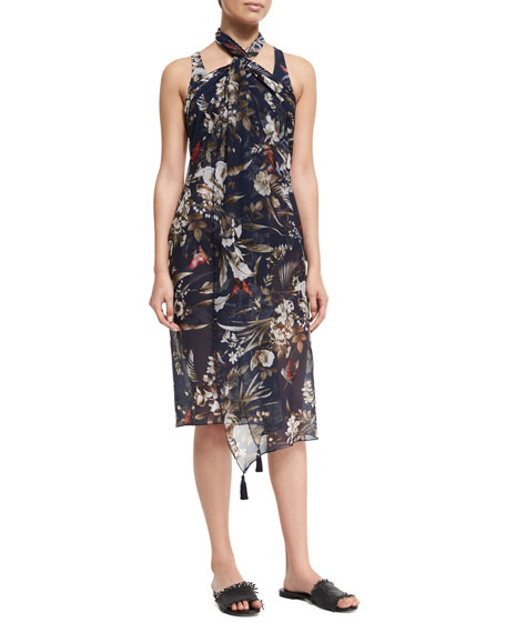 Floral-Print Pareo Coverup, Blue