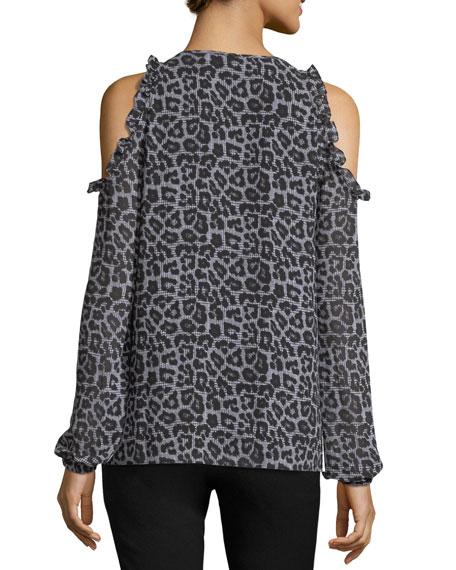Leopard-Print Cold-Shoulder Top