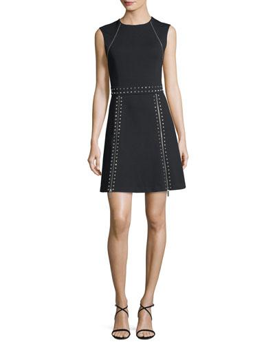Sleeveless Pyramid Stud Zip-Trim Dress