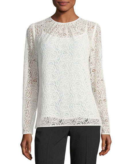 Long-Sleeve Stretch-Lace T-Shirt
