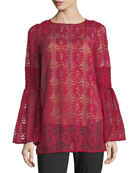 MICHAEL Michael Kors Long Bell-Sleeve Lace Tunic