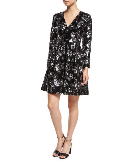 MICHAEL Michael Kors Long-Sleeve V-Neck Floral-Sequin Dress