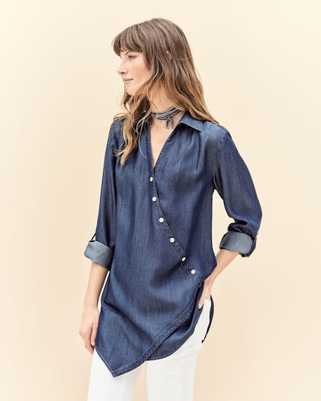 Denim Asymmetric Button-Detail Shirt, Petite