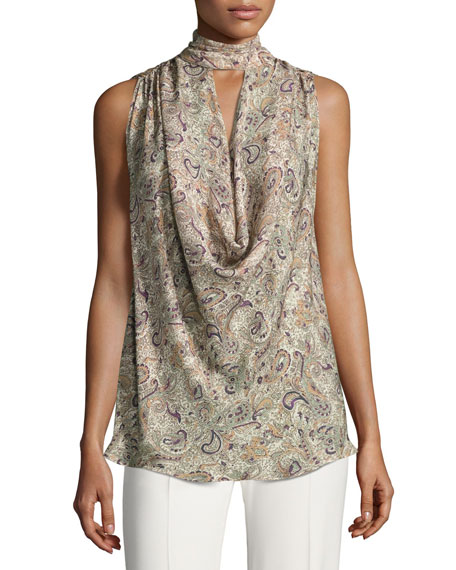 Haute Hippie Out Of Touch Sleeveless Silk Blouse,